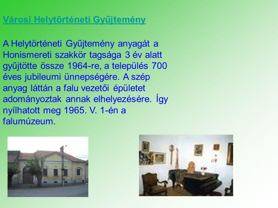 A Helytörténeti Gyűjtemény anyagát a Honismereti szakkör tagsága 3 év alatt gyűjtötte össze 1964-re, a település 700 éves jubileumi ünnepségére. A szé