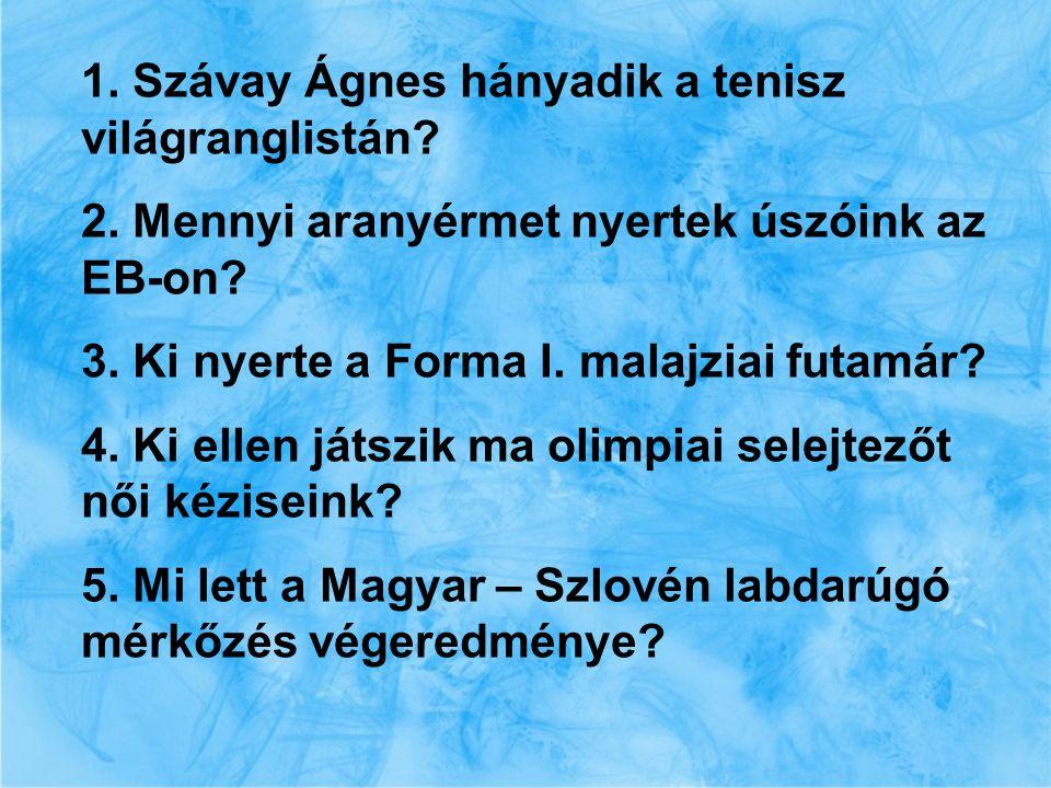 1. Szávay Ágnes hányadik a tenisz világranglistán.