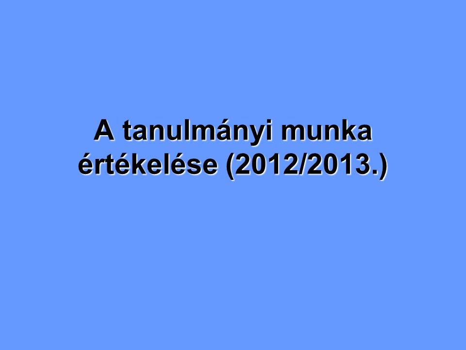 A tanulmányi munka értékelése (2012/2013.)