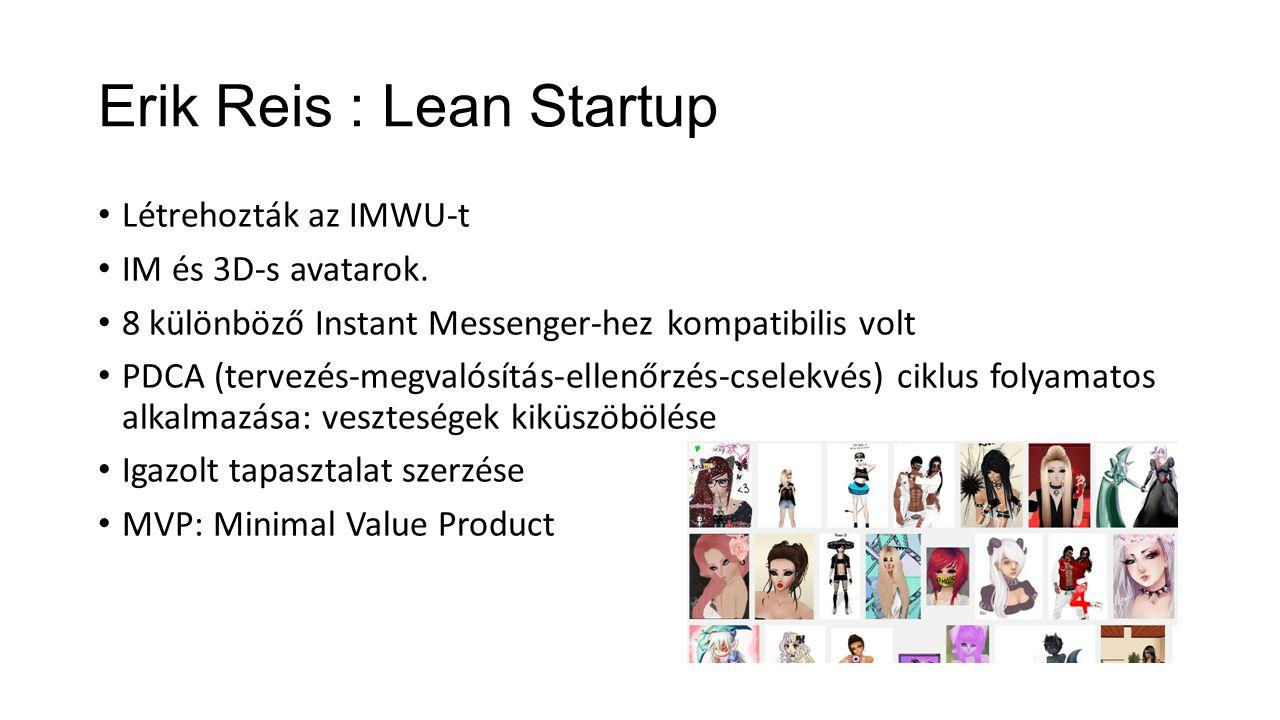 Erik Reis : Lean Startup Létrehozták az IMWU-t IM és 3D-s avatarok. 8 különböző Instant Messenger-hez kompatibilis volt PDCA (tervezés-megvalósítás-el