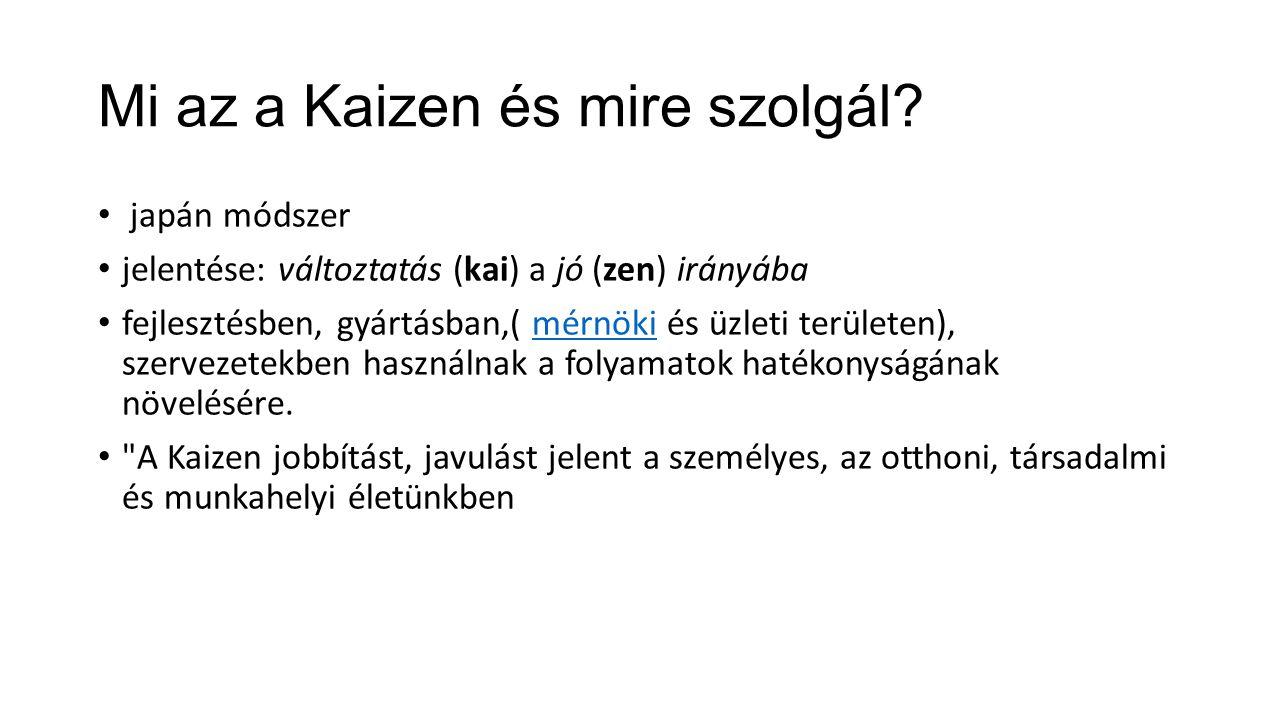 Mi az a Kaizen és mire szolgál? japán módszer jelentése: változtatás (kai) a jó (zen) irányába fejlesztésben, gyártásban,( mérnöki és üzleti területen