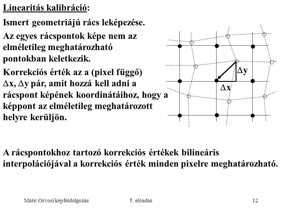 Máté: Orvosi képfeldolgozás5. előadás12 yy xx Linearitás kalibráció: Ismert geometriájú rács leképezése. Az egyes rácspontok képe nem az elméletil
