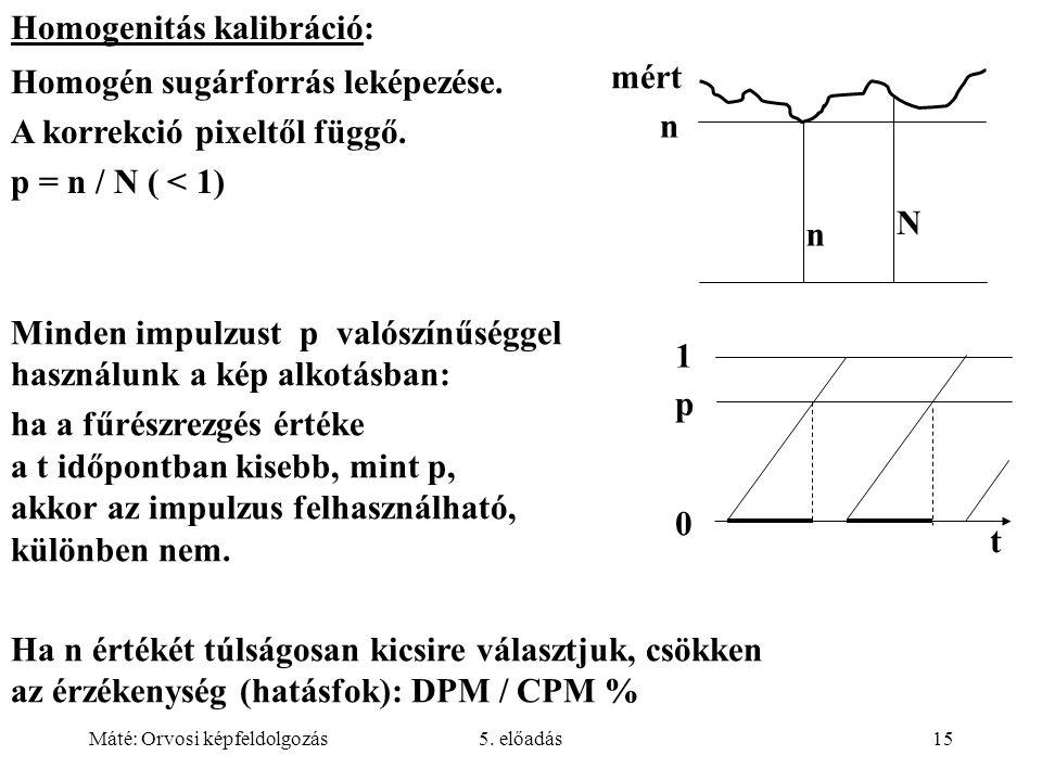 Máté: Orvosi képfeldolgozás5. előadás15 N n n mért Homogenitás kalibráció: Homogén sugárforrás leképezése. A korrekció pixeltől függő. p = n / N ( < 1