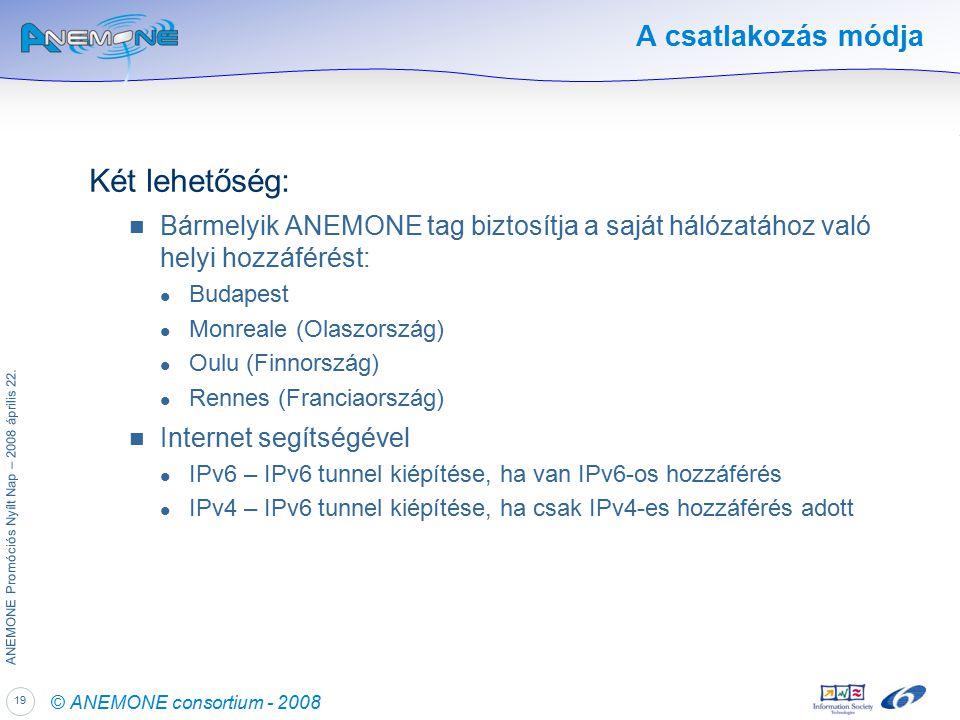 19 ANEMONE Promóciós Nyílt Nap – 2008 április 22.