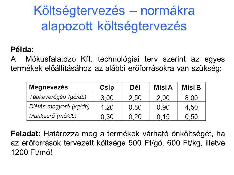 Költségtervezés – normákra alapozott költségtervezés Példa: A Mókusfalatozó Kft. technológiai terv szerint az egyes termékek előállításához az alábbi