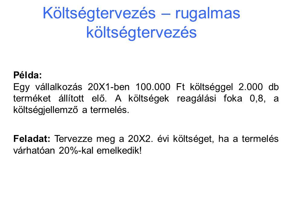 Költségtervezés – rugalmas költségtervezés Példa: Egy vállalkozás 20X1-ben 100.000 Ft költséggel 2.000 db terméket állított elő. A költségek reagálási