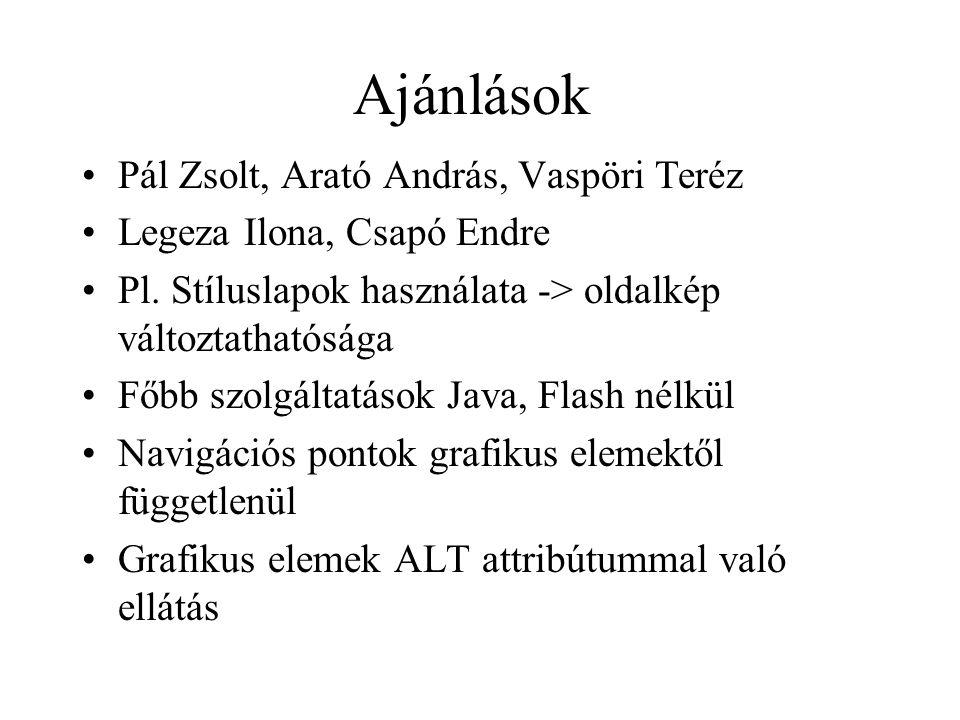 Ajánlások Pál Zsolt, Arató András, Vaspöri Teréz Legeza Ilona, Csapó Endre Pl.