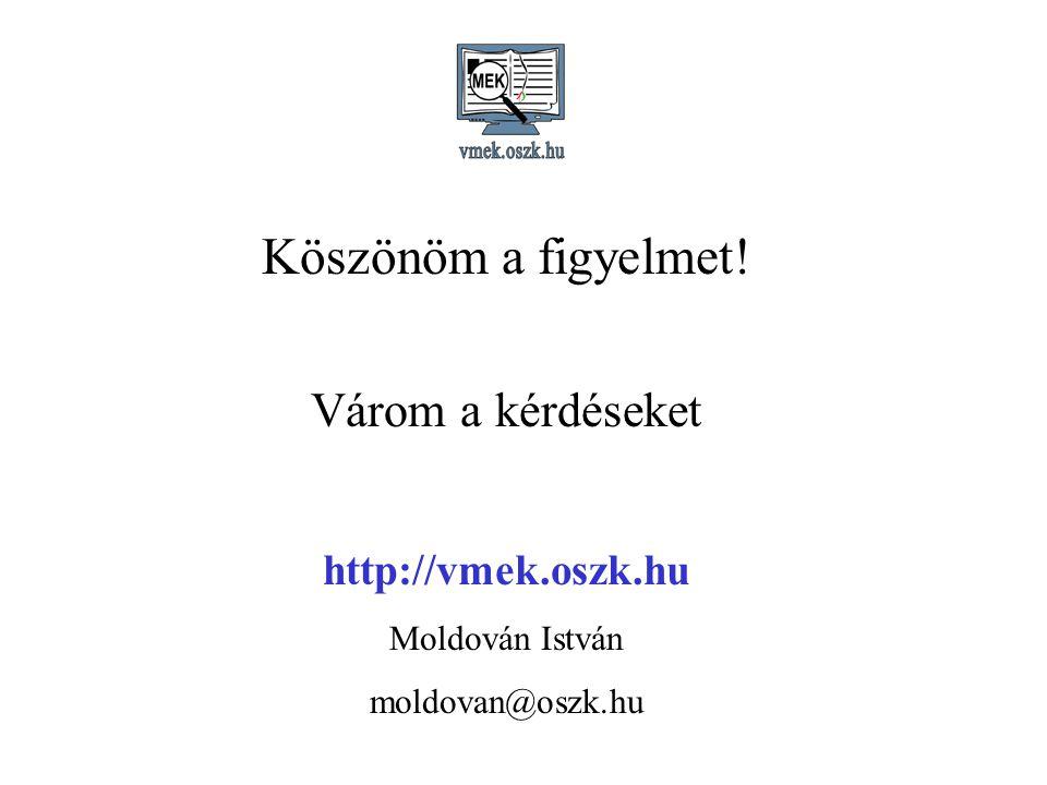 Köszönöm a figyelmet! Várom a kérdéseket http://vmek.oszk.hu Moldován István moldovan@oszk.hu