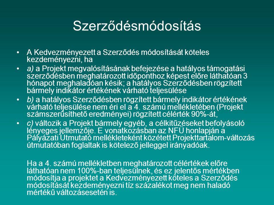 Szerződésmódosítás A Kedvezményezett a Szerződés módosítását köteles kezdeményezni, ha a) a Projekt megvalósításának befejezése a hatályos támogatási