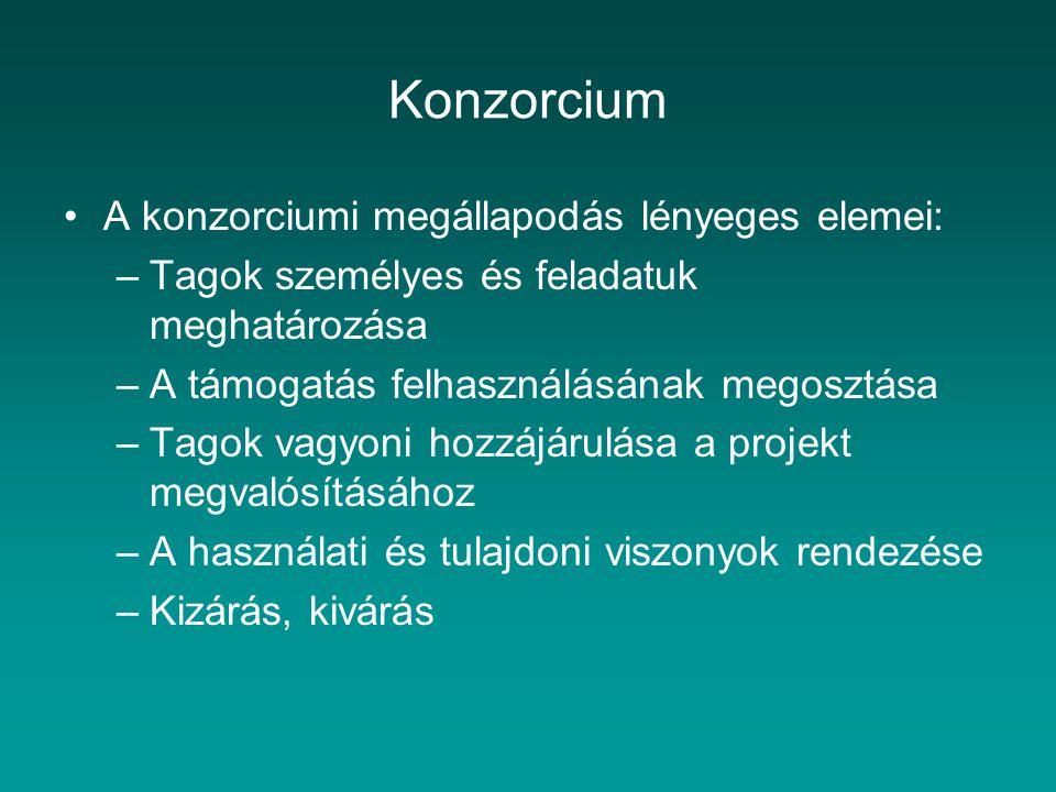 Konzorcium A konzorciumi megállapodás lényeges elemei: –Tagok személyes és feladatuk meghatározása –A támogatás felhasználásának megosztása –Tagok vag