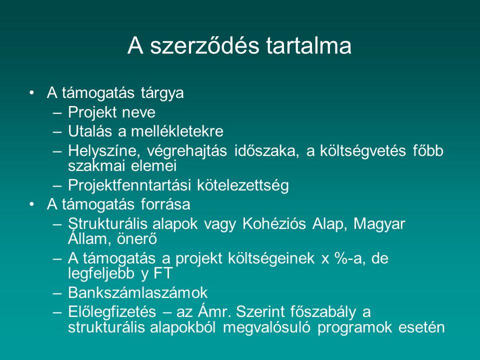 A szerződés tartalma A támogatás tárgya –Projekt neve –Utalás a mellékletekre –Helyszíne, végrehajtás időszaka, a költségvetés főbb szakmai elemei –Pr