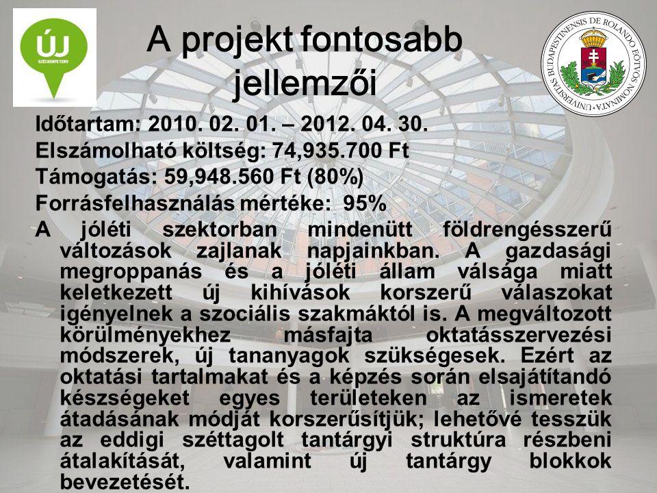 A projekt fontosabb jellemzői Időtartam: 2010. 02. 01. – 2012. 04. 30. Elszámolható költség: 74,935.700 Ft Támogatás: 59,948.560 Ft (80%) Forrásfelhas