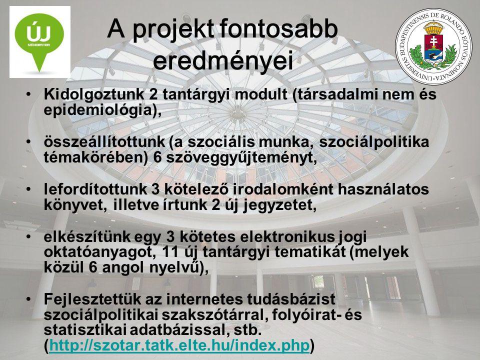 A projekt fontosabb eredményei Kidolgoztunk 2 tantárgyi modult (társadalmi nem és epidemiológia), összeállítottunk (a szociális munka, szociálpolitika