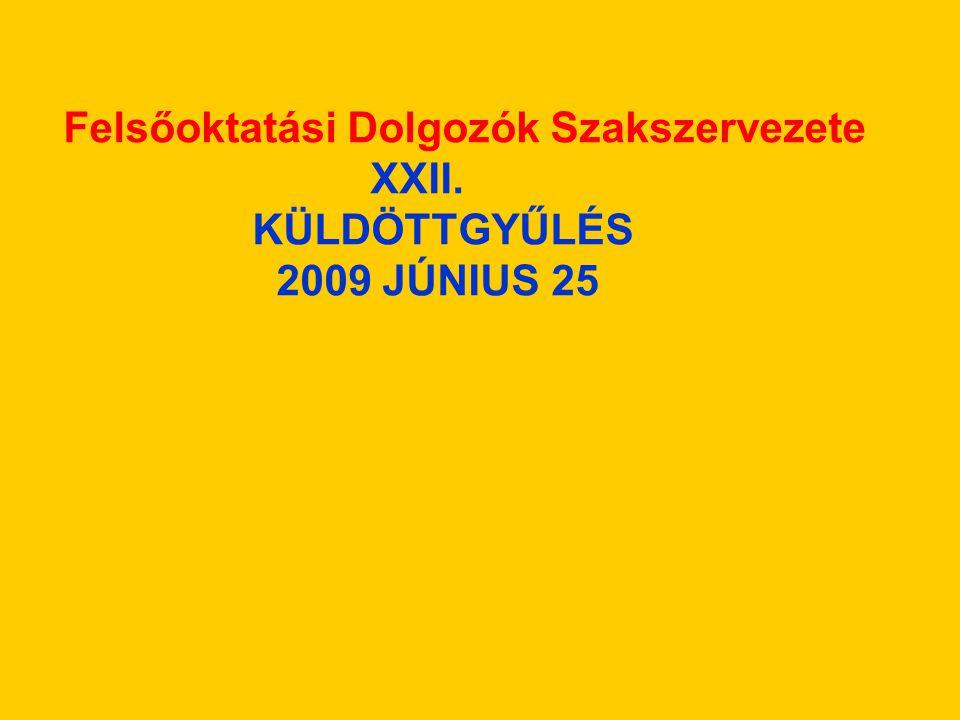 Felsőoktatási Dolgozók Szakszervezete XXII. KÜLDÖTTGYŰLÉS 2009 JÚNIUS 25