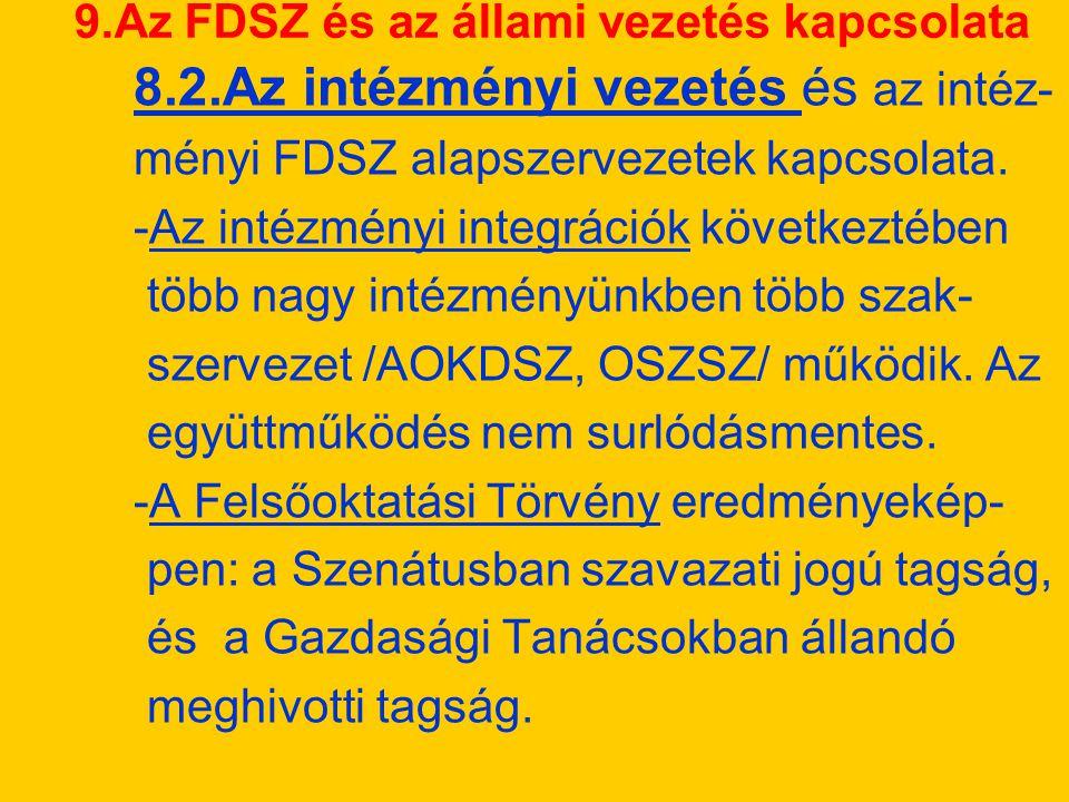 9.Az FDSZ és az állami vezetés kapcsolata 8.2.Az intézményi vezetés és az intéz- ményi FDSZ alapszervezetek kapcsolata.