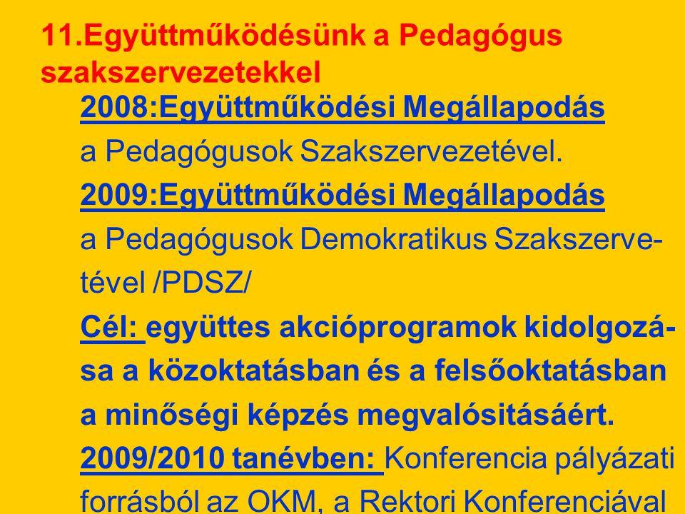 2008:Együttműködési Megállapodás a Pedagógusok Szakszervezetével.