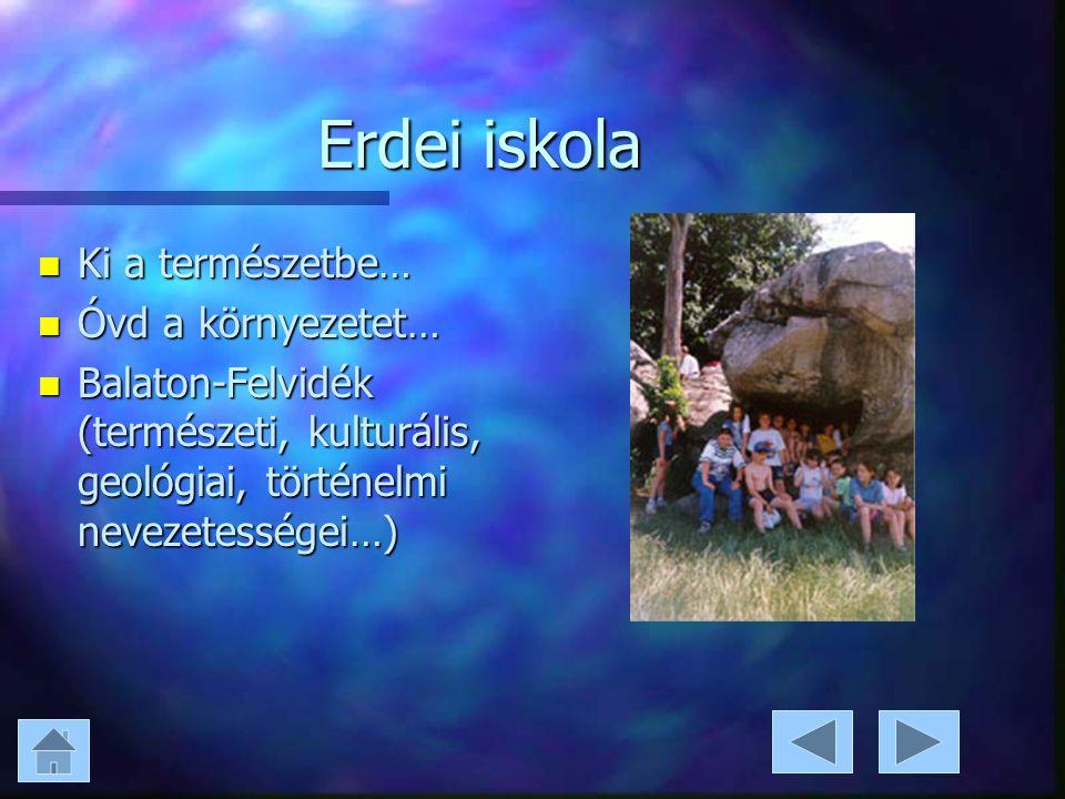 Erdei iskola n Ki a természetbe… n Óvd a környezetet… n Balaton-Felvidék (természeti, kulturális, geológiai, történelmi nevezetességei…)