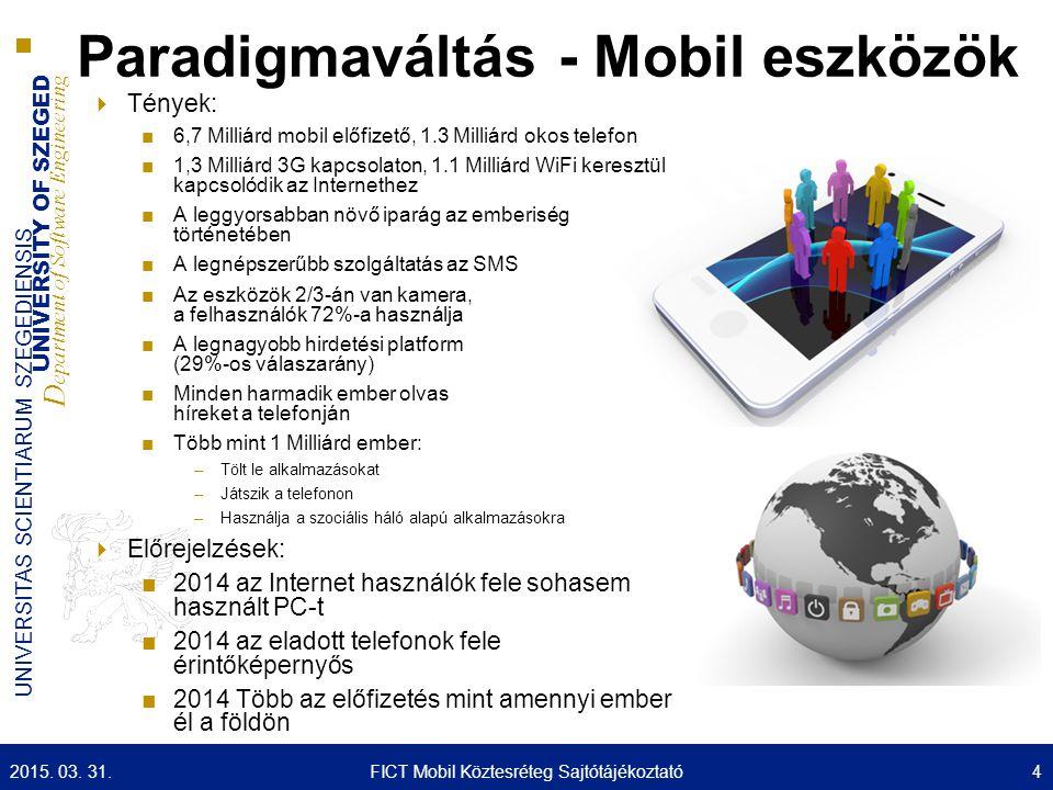UNIVERSITY OF SZEGED D epartment of Software Engineering UNIVERSITAS SCIENTIARUM SZEGEDIENSIS Paradigmaváltás - Mobil eszközök  Tények: ■6,7 Milliárd mobil előfizető, 1.3 Milliárd okos telefon ■1,3 Milliárd 3G kapcsolaton, 1.1 Milliárd WiFi keresztül kapcsolódik az Internethez ■A leggyorsabban növő iparág az emberiség történetében ■A legnépszerűbb szolgáltatás az SMS ■Az eszközök 2/3-án van kamera, a felhasználók 72%-a használja ■A legnagyobb hirdetési platform (29%-os válaszarány) ■Minden harmadik ember olvas híreket a telefonján ■Több mint 1 Milliárd ember: –Tölt le alkalmazásokat –Játszik a telefonon –Használja a szociális háló alapú alkalmazásokra  Előrejelzések: ■2014 az Internet használók fele sohasem használt PC-t ■2014 az eladott telefonok fele érintőképernyős ■2014 Több az előfizetés mint amennyi ember él a földön 2015.