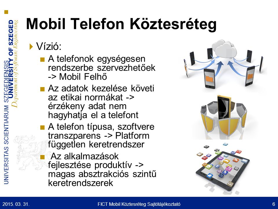UNIVERSITY OF SZEGED D epartment of Software Engineering UNIVERSITAS SCIENTIARUM SZEGEDIENSIS Mobil Telefon Köztesréteg  Vízió: ■A telefonok egységesen rendszerbe szervezhetőek -> Mobil Felhő ■Az adatok kezelése követi az etikai normákat -> érzékeny adat nem hagyhatja el a telefont ■A telefon típusa, szoftvere transzparens -> Platform független keretrendszer ■ Az alkalmazások fejlesztése produktív -> magas absztrakciós szintű keretrendszerek 2015.