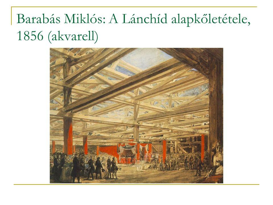 Barabás Miklós: A Lánchíd alapkőletétele, 1856 (akvarell)