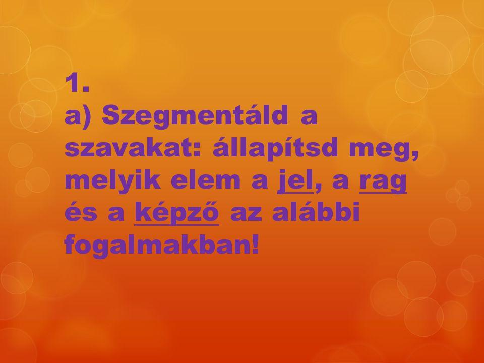 1. a) Szegmentáld a szavakat: állapítsd meg, melyik elem a jel, a rag és a képző az alábbi fogalmakban!