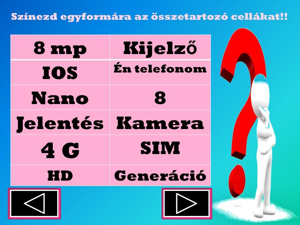 8 mpKijelz ő IOS Én telefonom Nano8 JelentésKamera 4 G SIM HDGeneráció Színezd egyformára az összetartozó cellákat!!