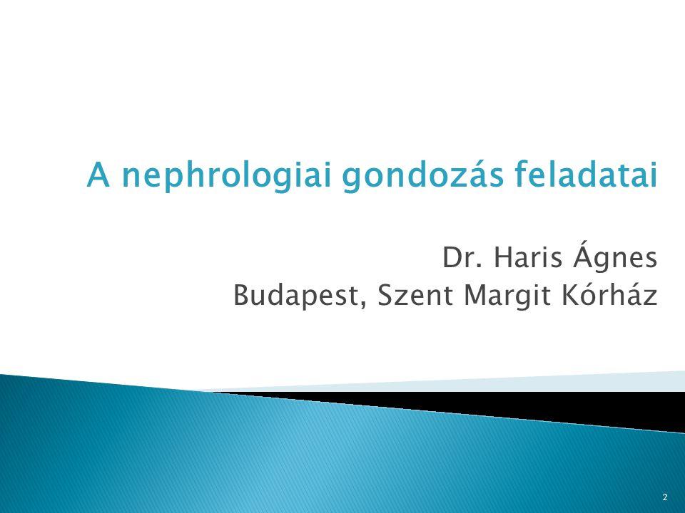 2 A nephrologiai gondozás feladatai Dr. Haris Ágnes Budapest, Szent Margit Kórház