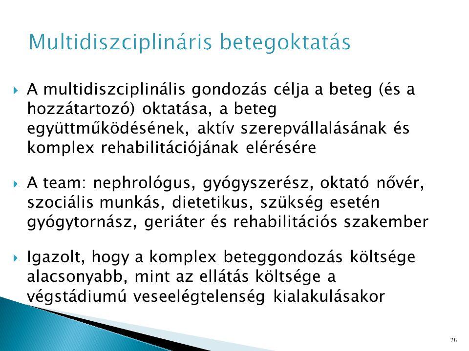 28  A multidiszciplinális gondozás célja a beteg (és a hozzátartozó) oktatása, a beteg együttműködésének, aktív szerepvállalásának és komplex rehabilitációjának elérésére  A team: nephrológus, gyógyszerész, oktató nővér, szociális munkás, dietetikus, szükség esetén gyógytornász, geriáter és rehabilitációs szakember  Igazolt, hogy a komplex beteggondozás költsége alacsonyabb, mint az ellátás költsége a végstádiumú veseelégtelenség kialakulásakor
