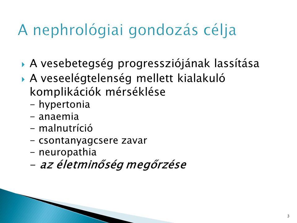 3 A nephrológiai gondozás célja  A vesebetegség progressziójának lassítása  A veseelégtelenség mellett kialakuló komplikációk mérséklése - hypertonia - anaemia - malnutríció - csontanyagcsere zavar - neuropathia - az életminőség megőrzése