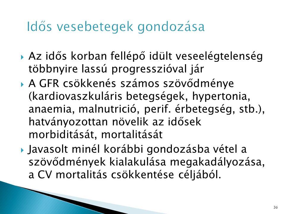 36  Az idős korban fellépő idült veseelégtelenség többnyire lassú progresszióval jár  A GFR csökkenés számos szövődménye (kardiovaszkuláris betegségek, hypertonia, anaemia, malnutrició, perif.