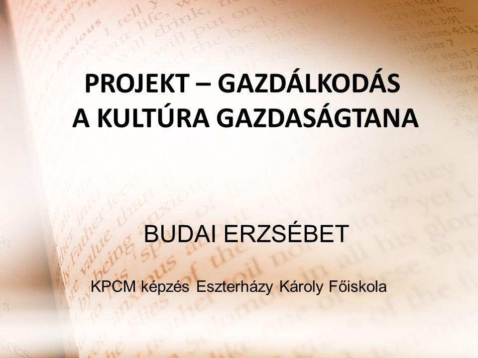 PROJEKT – GAZDÁLKODÁS A KULTÚRA GAZDASÁGTANA KPCM képzés Eszterházy Károly Főiskola BUDAI ERZSÉBET