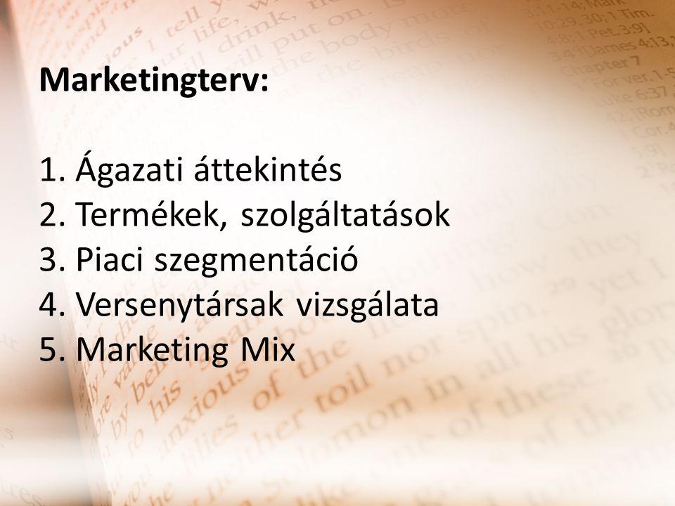 Marketingterv: 1. Ágazati áttekintés 2. Termékek, szolgáltatások 3. Piaci szegmentáció 4. Versenytársak vizsgálata 5. Marketing Mix