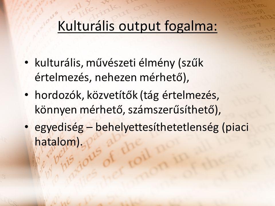 Kulturális output fogalma: kulturális, művészeti élmény (szűk értelmezés, nehezen mérhető), hordozók, közvetítők (tág értelmezés, könnyen mérhető, szá