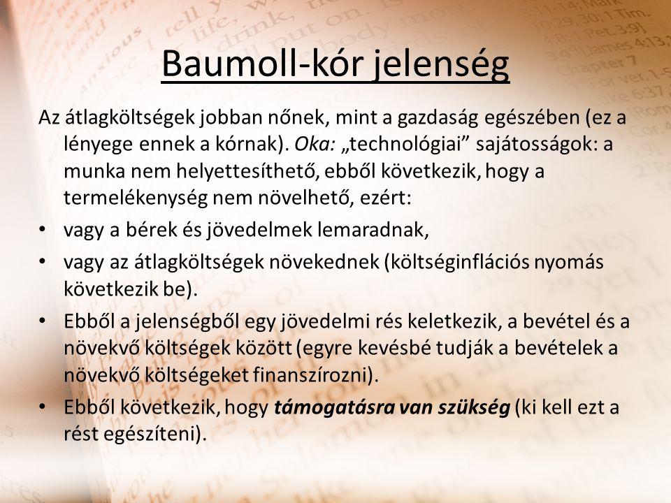 Baumoll-kór jelenség Az átlagköltségek jobban nőnek, mint a gazdaság egészében (ez a lényege ennek a kórnak).
