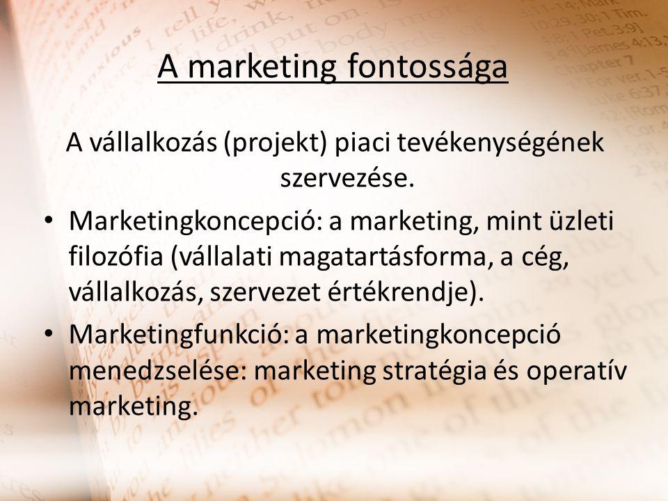 A marketing fontossága A vállalkozás (projekt) piaci tevékenységének szervezése. Marketingkoncepció: a marketing, mint üzleti filozófia (vállalati mag