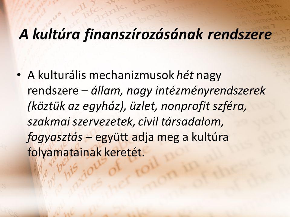 A kultúra finanszírozásának rendszere A kulturális mechanizmusok hét nagy rendszere – állam, nagy intézményrendszerek (köztük az egyház), üzlet, nonpr