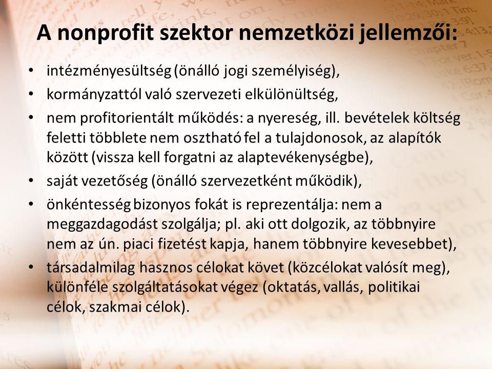 A nonprofit szektor nemzetközi jellemzői: intézményesültség (önálló jogi személyiség), kormányzattól való szervezeti elkülönültség, nem profitorientált működés: a nyereség, ill.