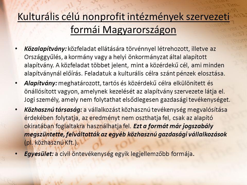 Kulturális célú nonprofit intézmények szervezeti formái Magyarországon Közalapítvány: közfeladat ellátására törvénnyel létrehozott, illetve az Országg