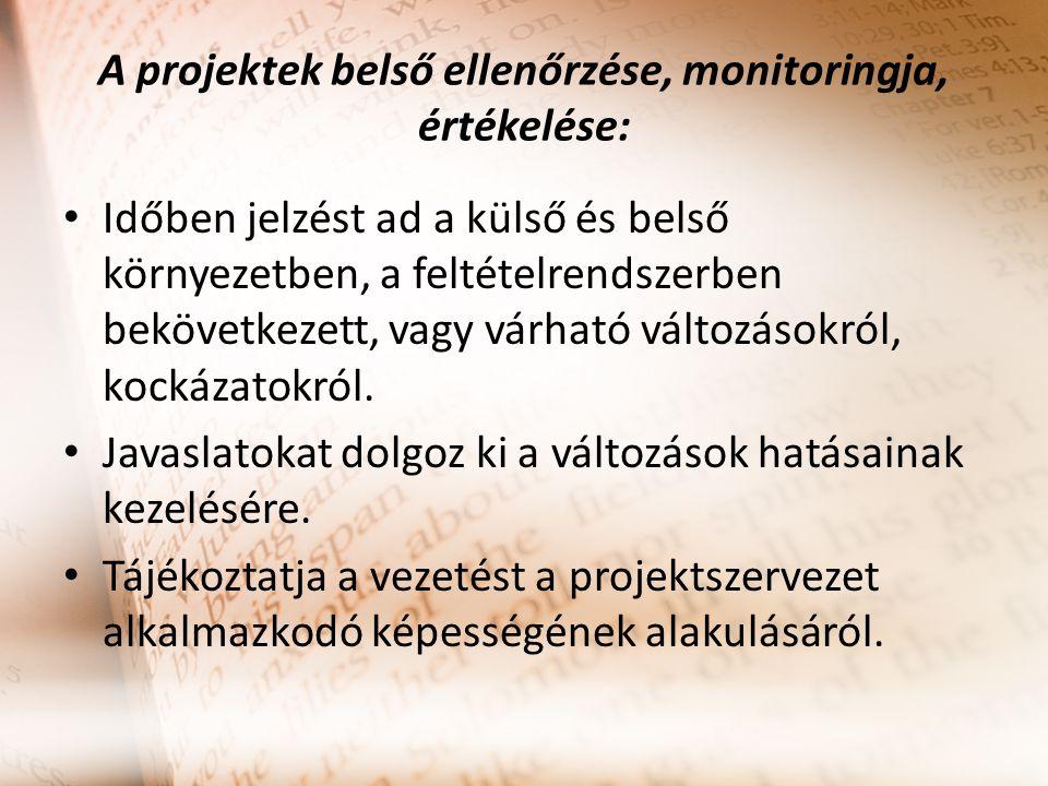 A projektek belső ellenőrzése, monitoringja, értékelése: Időben jelzést ad a külső és belső környezetben, a feltételrendszerben bekövetkezett, vagy vá