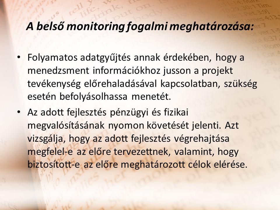 A belső monitoring fogalmi meghatározása: Folyamatos adatgyűjtés annak érdekében, hogy a menedzsment információkhoz jusson a projekt tevékenység előrehaladásával kapcsolatban, szükség esetén befolyásolhassa menetét.