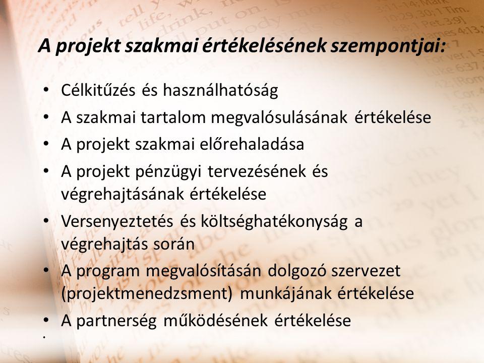 A projekt szakmai értékelésének szempontjai: Célkitűzés és használhatóság A szakmai tartalom megvalósulásának értékelése A projekt szakmai előrehaladása A projekt pénzügyi tervezésének és végrehajtásának értékelése Versenyeztetés és költséghatékonyság a végrehajtás során A program megvalósításán dolgozó szervezet (projektmenedzsment) munkájának értékelése A partnerség működésének értékelése