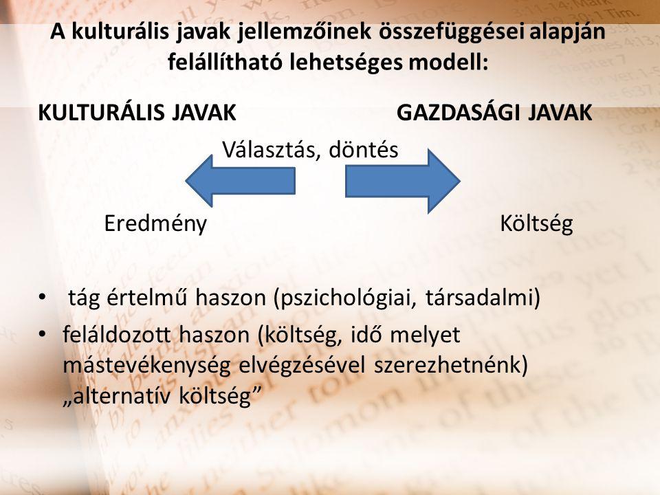 A kulturális javak jellemzőinek összefüggései alapján felállítható lehetséges modell: KULTURÁLIS JAVAK GAZDASÁGI JAVAK Választás, döntés EredményKölts