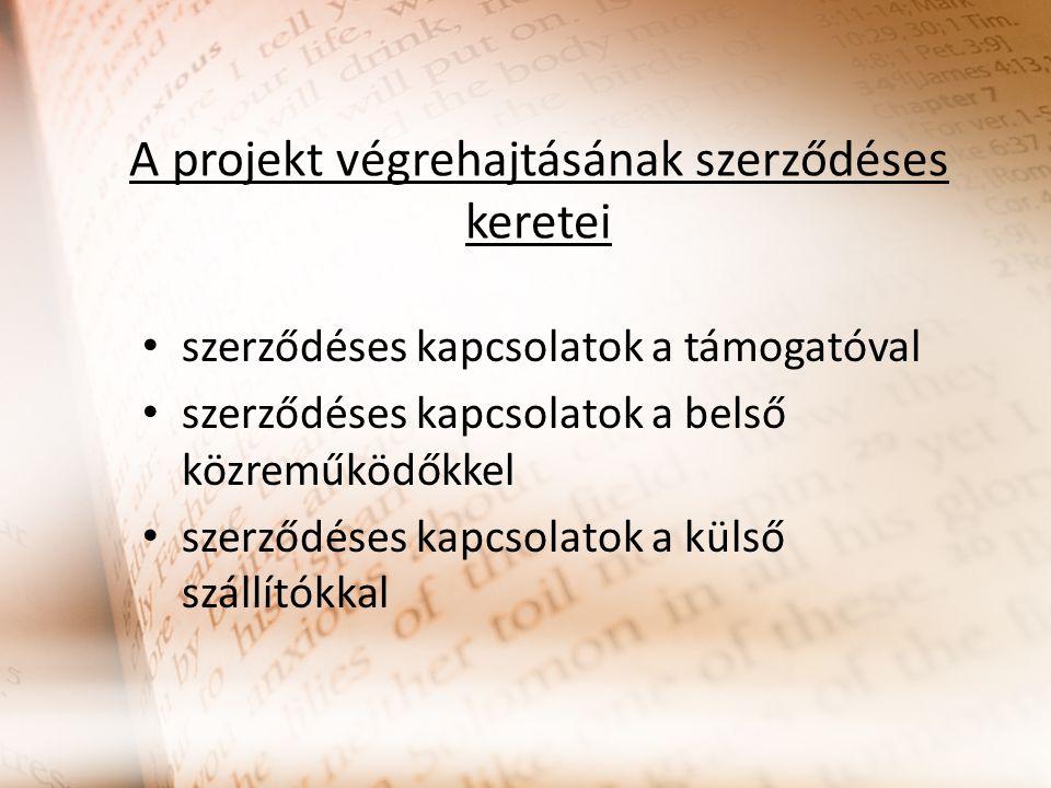 A projekt végrehajtásának szerződéses keretei szerződéses kapcsolatok a támogatóval szerződéses kapcsolatok a belső közreműködőkkel szerződéses kapcsolatok a külső szállítókkal