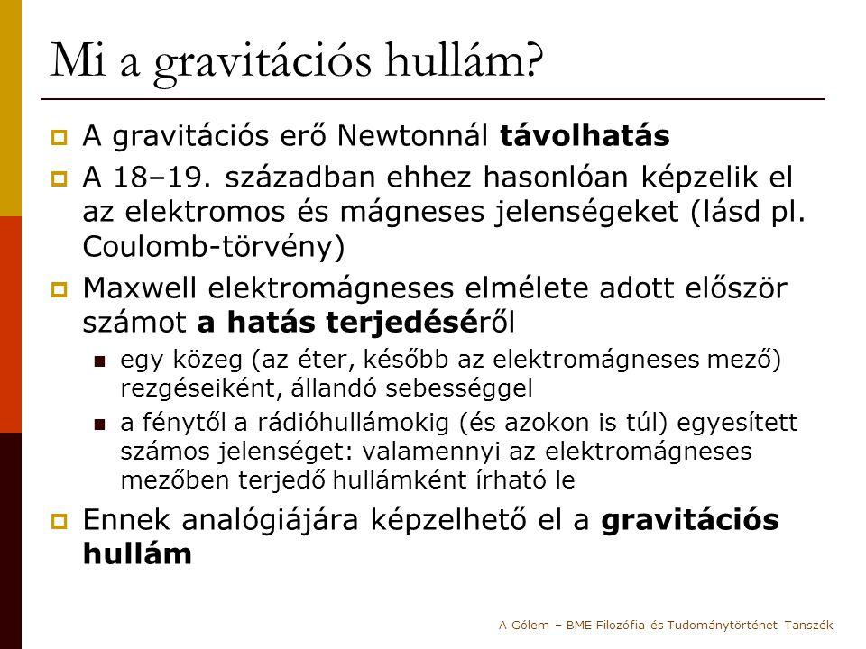Mi a gravitációs hullám?  A gravitációs erő Newtonnál távolhatás  A 18–19. században ehhez hasonlóan képzelik el az elektromos és mágneses jelensége