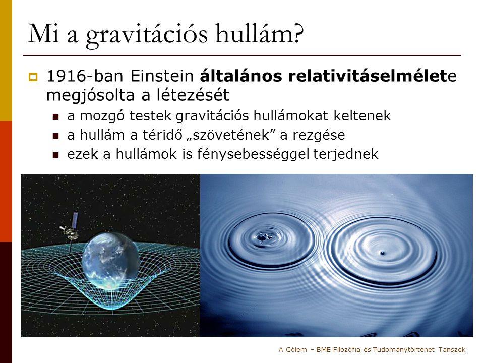 Mi a gravitációs hullám?  1916-ban Einstein általános relativitáselmélete megjósolta a létezését a mozgó testek gravitációs hullámokat keltenek a hul