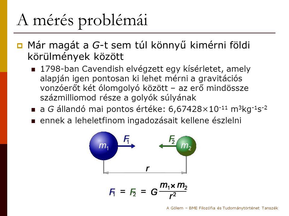A mérés problémái  Már magát a G-t sem túl könnyű kimérni földi körülmények között 1798-ban Cavendish elvégzett egy kísérletet, amely alapján igen po