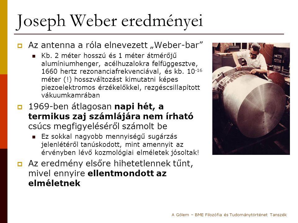 """Joseph Weber eredményei  Az antenna a róla elnevezett """"Weber-bar"""" Kb. 2 méter hosszú és 1 méter átmérőjű alumíniumhenger, acélhuzalokra felfüggesztve"""