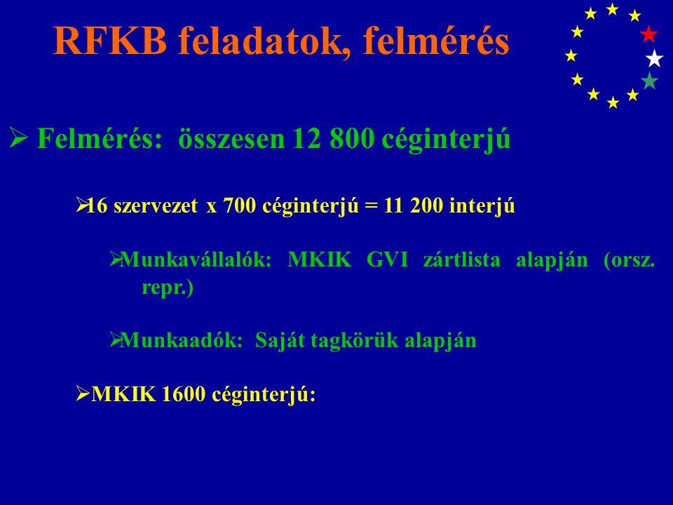 RFKB feladatok, felmérés  Felmérés: összesen 12 800 céginterjú  16 szervezet x 700 céginterjú = 11 200 interjú  Munkavállalók: MKIK GVI zártlista alapján (orsz.