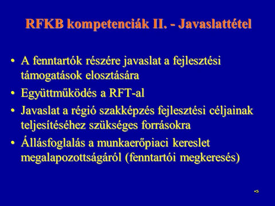 5 RFKB kompetenciák II. - Javaslattétel A fenntartók részére javaslat a fejlesztési támogatások elosztásáraA fenntartók részére javaslat a fejlesztési