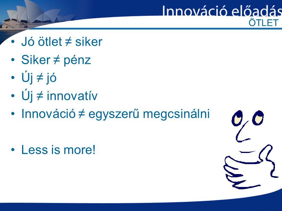 ÖTLET Jó ötlet ≠ siker Siker ≠ pénz Új ≠ jó Új ≠ innovatív Innováció ≠ egyszerű megcsinálni Less is more!
